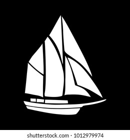 Stencil of a sailboat on a black background. Flat design, vector.