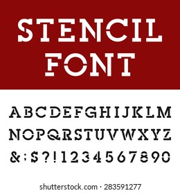The Stencil Slab Serif Alphabet Vector Font Type letters, numbers and punctuation marks. The Stencil Slab Serif Vector Bold Font.