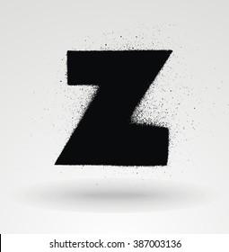 Stencil spray paint font. Detailed vector alphabet