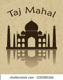 Stencil of the Taj Mahal on a brown background. India, Agra, world, drawing vector, travel, Asia. tajmahal symbol of love Indian famous monument silhouette