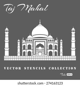 Stencil of the Taj Mahal on a gray background.