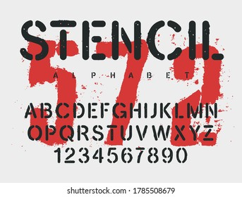 Stencil typeface. Grunge textured font. Vector handmade alphabet. Rough stamp style uppercase letters and numbers. Vectors