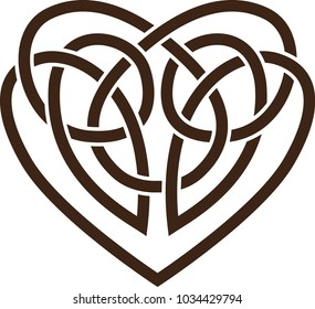 Stencil. Vector icon: Celtic knot with heart shape.