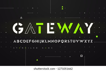 Stenciled futuristic san serif, alphabet, uppercase letters, typography. Vector illustration.