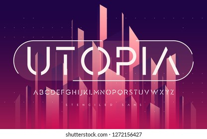 Stenciled minimal san serif, alphabet, uppercase letters, typography. Vector illustration.