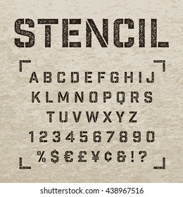 Stencil-plate alphabet with imprint effect. Straight stencil letters with numbers. Stamp stencil letters for print design.