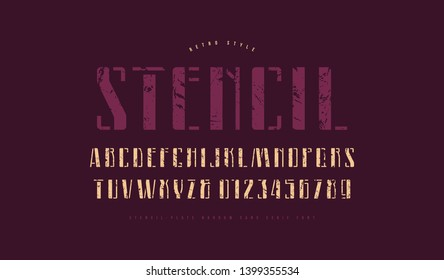 Stencil-plate narrow sans serif font. Letters and numbers with vintage texture for logo and label design
