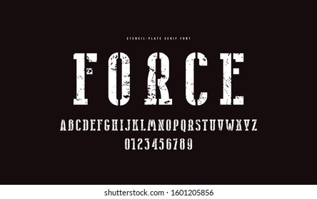 Stencil-plate narrow serif font. Bold face. Letters and numbers with rough texture for logo and emblem design
