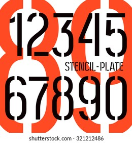 Stencil-plate numbers in military style. Medium face. Color print on white background