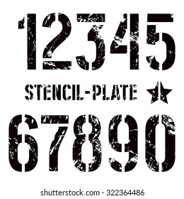 Stencil-plate numbers in military style with shabby texture. Bold face. Black print on white background