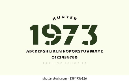 Stencil-plate sans serif font in classic style. Bold face. Letters and numbers for logo and label design. Isolated on white background