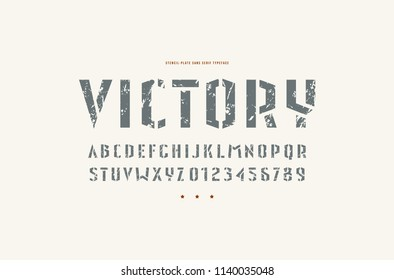Stencil-plate sans serif font in military style. Letters and numbers with rough texture for logo and emblem design. Print on white background