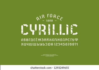 Stencil-plate sans serif font in military style. Cyrillic letters and numbers with vintage texture for logo and t-shirt design. White print on green background