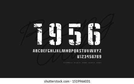 Stencil-plate sans serif font in military style. Letters and numbers with vintage texture for logo and label design. White print on black background