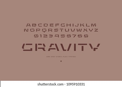 Stencil-plate sans serif font in urban style. Letters and numbers for sci-fi, military, industrial logo and title design