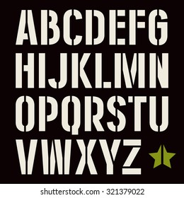 Stencil-plate sanserif font in military style. Bold face. White print on black background