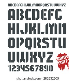 Stencil-plate sanserif font and numeral in military style. Black print on white background