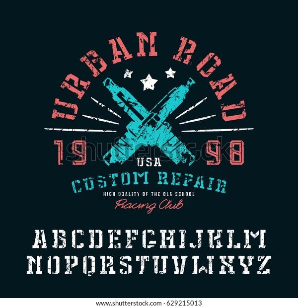 Stencilplate Serif Font Graphic Design Tshirt Stock Vector