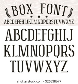 Stencil-plate serif font. Medium face. Black print on white background