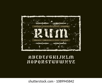 Stencil-plate serif font in military style. Template for rum label. Letters with rough texture for logo, label and signboard design. Color print on black background