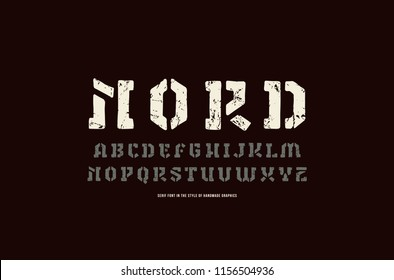Stencil-plate serif font in the style of handmade graphics. Letters and numbers with vintage texture for logo and emblem design. Print on  black background