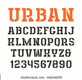 Stencil-plate serif font in urban style. Isolated on white background