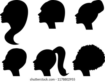 stencils for girls with different hairstyles