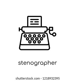 Stenographer icon. Trendy modern flat linear vector Stenographer icon on white background from thin line law and justice collection, editable outline stroke vector illustration