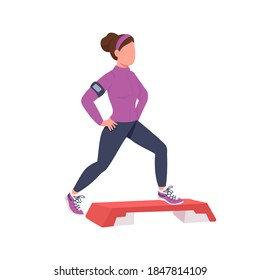 Step up aerobics trainer flat color vector faceless character. Fitness training. Exercise outdoors.Healthy active lifestyle isolated cartoon illustration for web graphic design and animation