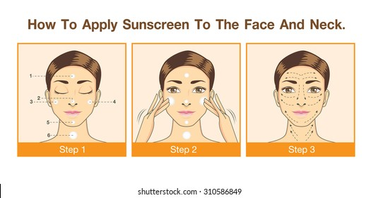 Step to apply sunscreen to face and neck for use to design packaging, label, illustration or other job
