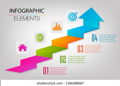 step up of business successful concept. Infographic vector