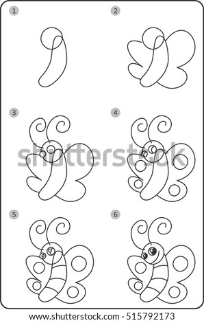 Step By Step Drawing Butterfly Easy Stock Vector Royalty Free