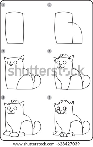Step By Step Drawing Cat Children Stock Vector Royalty Free