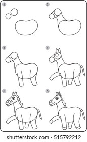 How to Draw a Horse Step By Step Images, Stock Photos