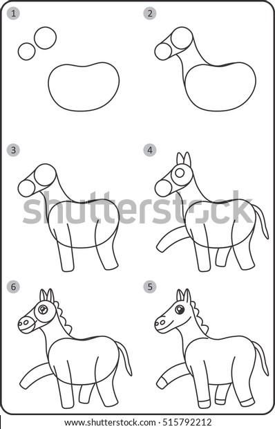 Schritt Fur Schritt Pferd Zeichnen Leicht Stock Vektorgrafik