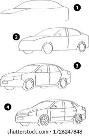 Step by step drawing learning techniques, transportation tools set workbook for kids isolated background. Vector illustration car