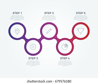step by step infographic element on connected circles, charts, 5 options diagram, parts, process, vector template for business presentation