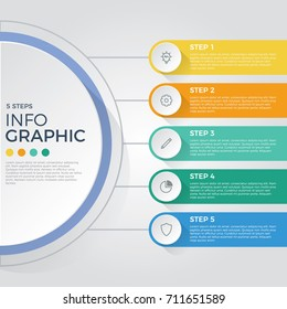 step by step infographic element on connected circles, charts, 5 options diagram, parts, process, vector template for presentation, pamphlet