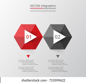 Step by step infographic. Red & gray template with 2 numbers can be used for workflow layout, diagram, chart, number options, web design, business presentation, trainings.