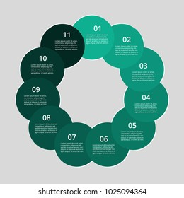 Step by step infographic. Template with 11 numbers can be used for workflow layout, diagram, chart, number options, web design, business presentation, trainings.