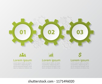 Step by step infographic. Template with 3 numbers can be used for workflow layout, diagram, chart, number options, web design, business presentation, trainings.