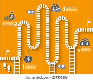 Step by Step Infographics pathway with money and coin icon, Vector EPS10