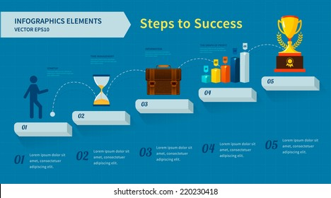 Step by step infographics. Steps to Success