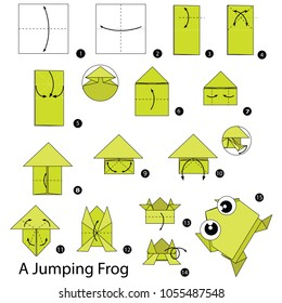 Step by step instructions how to make origami A Jumping Frog.