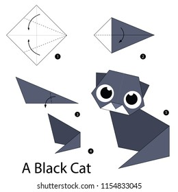 Step by step instructions how to make origami A Black Cat.