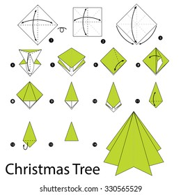 step by step instructions how to make origami christmas tree.