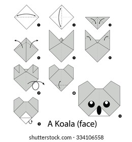 step by step instructions how to make origami Koala.