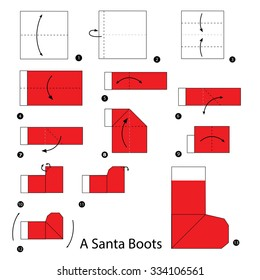 step by step instructions how to make origami A santa boot.