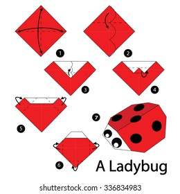 step by step instructions how to make origami A Ladybug