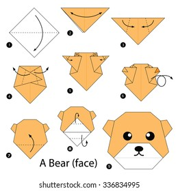 step by step instructions how to make origami A Bear (face).